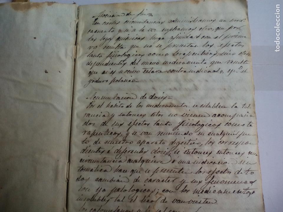Libros antiguos: Antiguo libro manuscrito apuntes de farmacologia y materia médica. Farmacia, medicina. - Foto 4 - 109277511