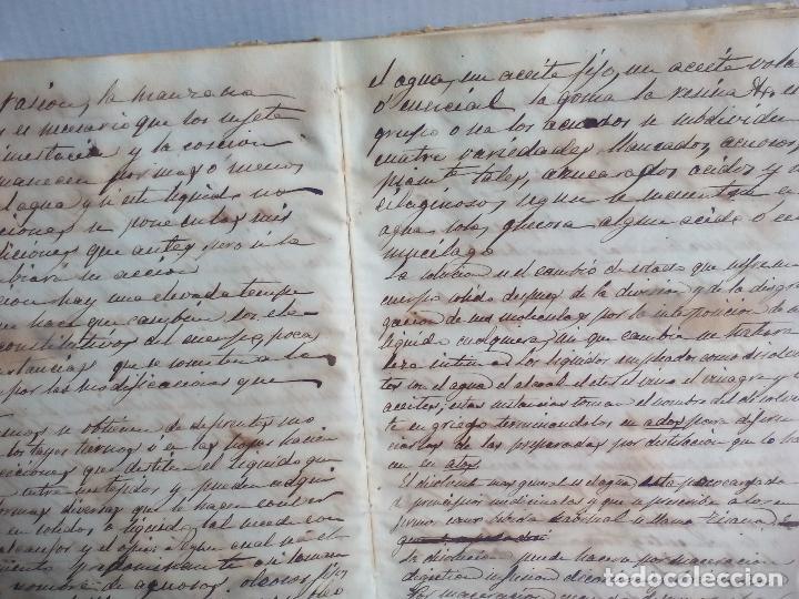 Libros antiguos: Antiguo libro manuscrito apuntes de farmacologia y materia médica. Farmacia, medicina. - Foto 5 - 109277511