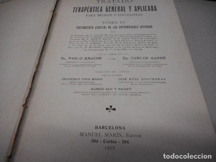 Libros antiguos: libro medicina 1913 tratado terapeutica general enfermedades internas - Foto 2 - 110024015