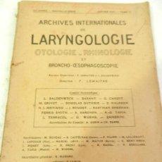 Libros antiguos: LARYNGOLOGIE OTOLOGIE-RHINOLOGIE ET BRONCHO-OESOPHAGOSCOPIE VIGOT FRERES 1927.. Lote 110086859