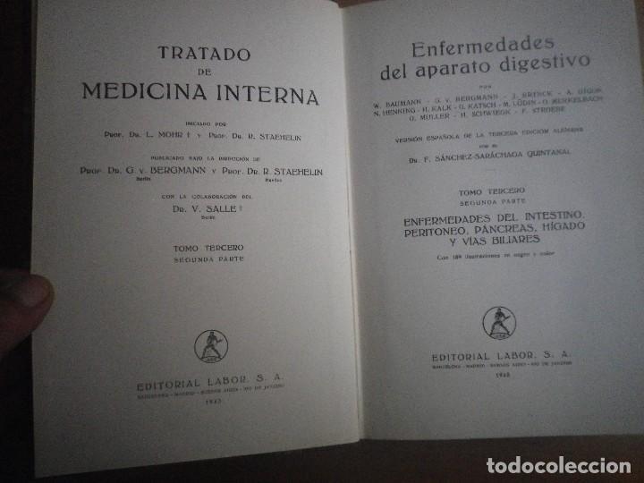 Libros antiguos: TRATADO DE MEDICINA INTERNA 2 TOMOS 4 LIBROS EDITORIAL LABOR - Foto 6 - 110993043