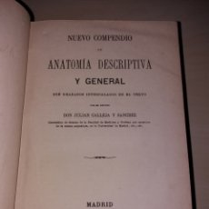 Libros antiguos: NUEVO COMPENDIO DE ANATOMÍA DESCRIPTIVA Y GENERAL - JULIÁN CALLEJA Y SÁNCHEZ - 1878. Lote 111623175