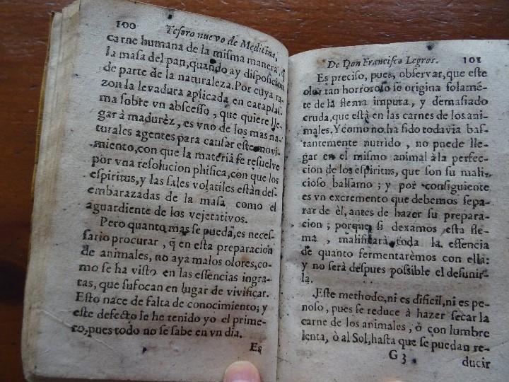 Libros antiguos: Tesoro de Medicina, Francisco Legros, 1717?, 204 pags, 8ª, tapas pergamino - Foto 11 - 112358035