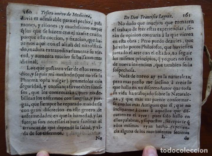 Libros antiguos: Tesoro de Medicina, Francisco Legros, 1717?, 204 pags, 8ª, tapas pergamino - Foto 12 - 112358035
