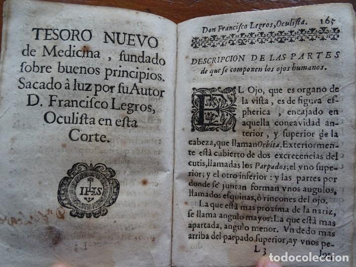 Libros antiguos: Tesoro de Medicina, Francisco Legros, 1717?, 204 pags, 8ª, tapas pergamino - Foto 14 - 112358035