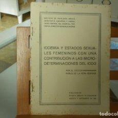 Libros antiguos: IODEMIA Y ESTADOS SEXUALES FEMENINOS CON UNA CONTRIBUCIÓN A LAS MICRODETERMINACIONES DEL IODO. Lote 116850147