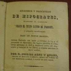 Libros antiguos: AFORISMOS Y PRONÓSTICOS DE HIPÓCRATES EN LATIN Y CASTELLANO. Lote 116557011