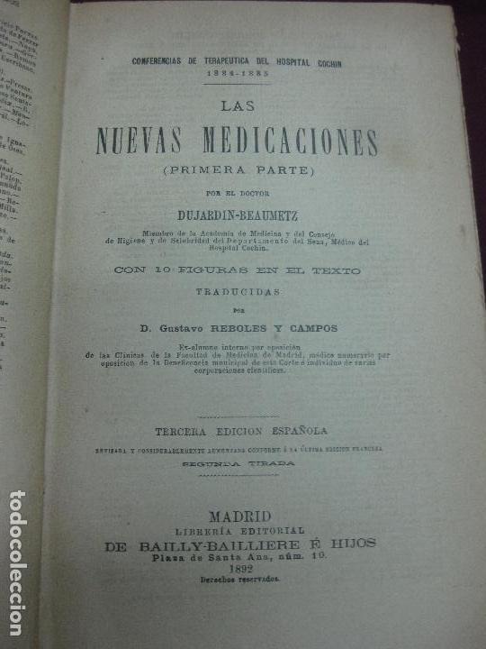 Libros antiguos: LAS NUEVAS MEDICACIONES. 2 VOL. DUJARDIN-BEAUMETZ. DE BAILLY Y - BAILLIERE E HIJOS. 1892. - Foto 2 - 118536695
