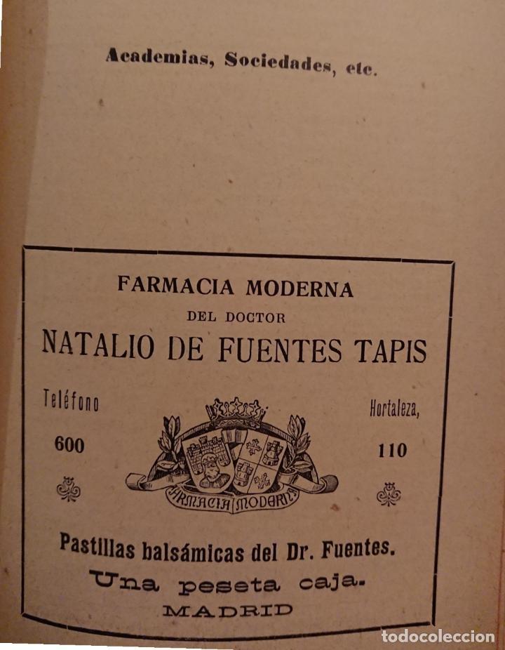 Libros antiguos: GUIA MÉDICO FARMACÉUTICA DE MADRID 1910, ESPUMOSOS HERRANZ - Foto 7 - 118591935