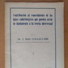 Libros antiguos: TESIS DOCTORAL MEDICINA DATOS EMBRIOLOGICOS TEORIA INTERSEXUAL DR. J. MAS COLLELLMIR 1930. Lote 118993271