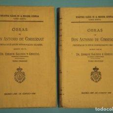 Libros antiguos: OBRAS DE ANTONIO DE GIMBERNAT (2 TOMOS) - ENRIQUE SALCEDO - IMPR. DE COSANO, 1926-8 (INTONSO). Lote 120436219