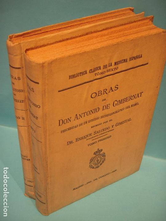 Libros antiguos: OBRAS DE ANTONIO DE GIMBERNAT (2 TOMOS) - ENRIQUE SALCEDO - IMPR. DE COSANO, 1926-8 (INTONSO) - Foto 2 - 120436219