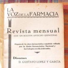 Libros antiguos: LA VOZ DE LA FARMACIA. REVISTA MENSUAL. TOMO V, AÑO 1934.. Lote 121477007