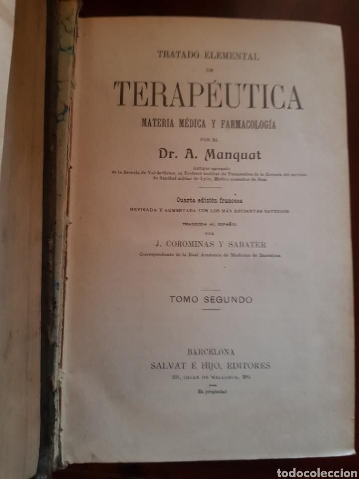 Libros antiguos: 2 tomos Tratado elemental de terapéutica dr a manquat - Foto 3 - 123487542