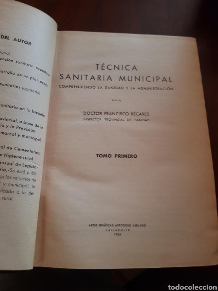 TÉCNICA SANITARIA MUNICIPAL DOCTOR BECARES (Libros Antiguos, Raros y Curiosos - Ciencias, Manuales y Oficios - Medicina, Farmacia y Salud)