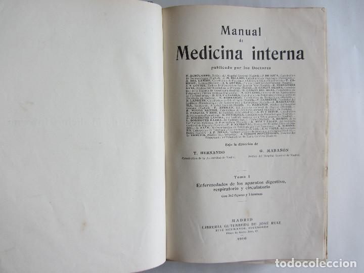 Libros antiguos: Manual de medicina interna. T. Hernando, G. Marañón. Tomo I. Año 1916. Ilustrado. Tapas duras. 938 p - Foto 3 - 124654559
