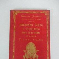 Libros antiguos: RECEPTAS HIGIÉNICOS - EMBARAZO Y PUERPERIO MANUAL DE LA COMACHE - DR F. VIDAL SOLARES - AÑO 1895. Lote 125139295