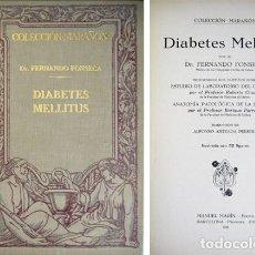 Libros antiguos: FONSECA, FERNANDO. DIABETES MELLITUS. 1930.. Lote 125894843