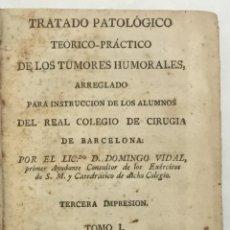 Libros antiguos: TRATADO PATOLÓGICO TEORICO-PRACTICO DE LOS TUMORES HUMORALES. - VIDAL, DOMINGO. MADRID, 1795.. Lote 123258367
