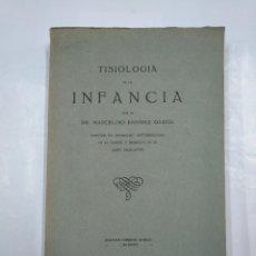 Libros antiguos: TISIOLOGÍA DE LA INFANCIA. DR. MARCELINO RAMÍREZ GARCÍA. IMPRENTA MODERNA LOGROÑO. TDK10. Lote 126353599