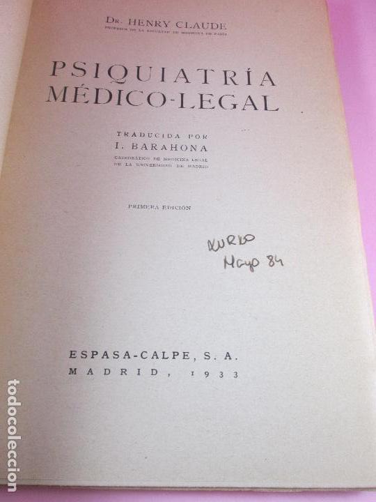 Libros antiguos: libro-psiquiatría médico legal-doctor henry claude-espasa calpe s.a.-1933-excelente estado - Foto 7 - 128503159