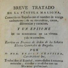 Libros antiguos: BREVE TRATADO DE LA PÚSTULA MALIGNA, CONOCIDA EN ESPAÑA CON EL NOMBRE DE VEXIGA CARBUNCOSA; DE SU.... Lote 123184316