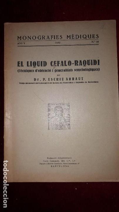 EL LIQUID CEFALO-RAQUIDI. (Libros Antiguos, Raros y Curiosos - Ciencias, Manuales y Oficios - Medicina, Farmacia y Salud)