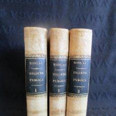 Libros antiguos: LIBROS ELEMENTOS DE HIGIENE PUBLICA AÑO 1862 ENCUADERNACION DE PIEL 3 TOMOS. Lote 130098835