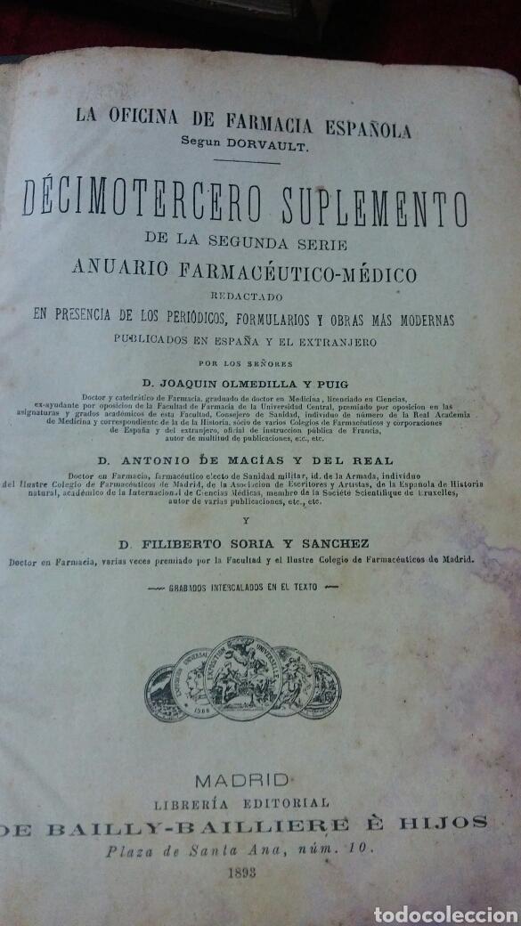 LA OFICINA DE FARMACIA ESPAÑOLA SEGÚN DORVAULT. SUPLEMENTOS DEL 13 AL 17. (Libros Antiguos, Raros y Curiosos - Ciencias, Manuales y Oficios - Medicina, Farmacia y Salud)