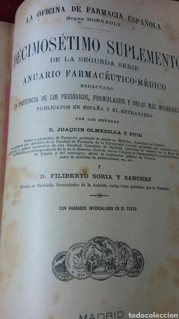 Libros antiguos: La oficina de farmacia Española según Dorvault. Suplementos del 13 al 17. - Foto 7 - 130266732