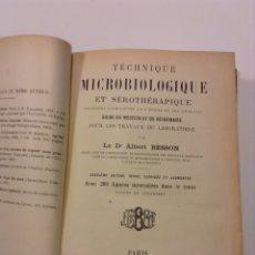 Libros antiguos: TECHNIQUE MICROBIOLOGIQUE. BESSON. VETERINARIA. MEDICINA. 1902. Lote 135056318