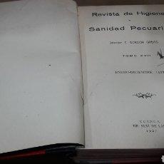Libros antiguos: REVISTA HIGIENE Y SANIDAD PECUARIAS GORDÓN ORDAS TOMO XVI AÑO 1927 COMPLETO. Lote 139033214