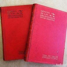 Libros antiguos: OSCAR HERTWIG TOMO I TOMO II GÉNESIS DE LOS ORGANISMOS IDEAS DEL SIGLO XX MADRID, ESPASA CALPE 1929. Lote 139871546