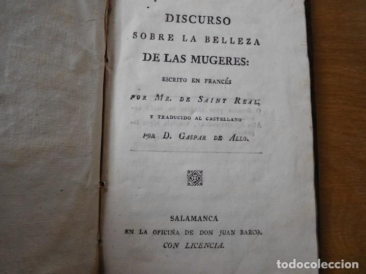 LIBRO DISCURSO SOBRE LA BELLEZA DE LAS MUGERES AÑO 1798 (Libros Antiguos, Raros y Curiosos - Ciencias, Manuales y Oficios - Medicina, Farmacia y Salud)