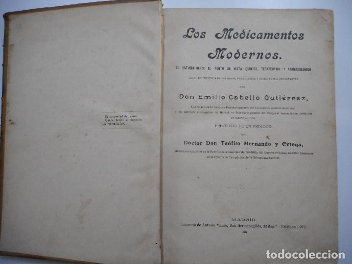 Libros antiguos: DON EMILIO CABELLO GUTIERREZ Los medicamentos Modernos Y91203 - Foto 2 - 141680822