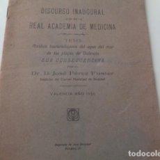 Libros antiguos: VALENCIA. REAL ACADEMIA DE MEDICINA. DISCURSO INAUGURAL, 1926. JOSÉ PÉREZ FUSTER. SEPARATA. Lote 142036650
