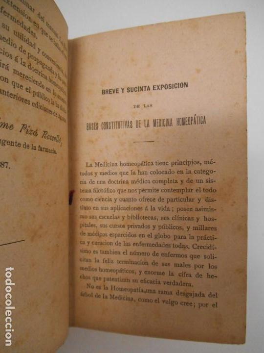 Libros antiguos: LA SALUD. MANUAL DE HOMEOPATIA - 1887 - Farmacia Homeopática - Foto 4 - 142296378