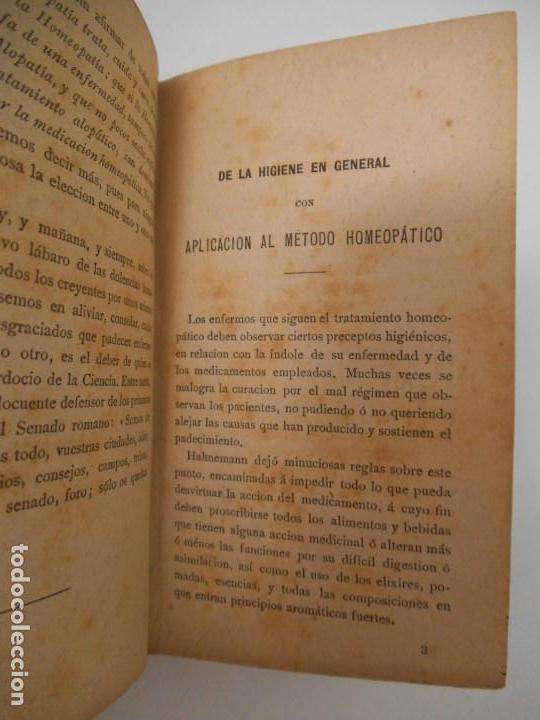 Libros antiguos: LA SALUD. MANUAL DE HOMEOPATIA - 1887 - Farmacia Homeopática - Foto 5 - 142296378