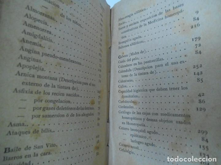 Libros antiguos: LA SALUD. MANUAL DE HOMEOPATIA - 1887 - Farmacia Homeopática - Foto 10 - 142296378