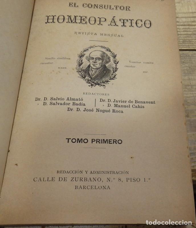 EL CONSULTOR HOMEOPATICO, 1887,NUMERO 1 AL 15, EN UN TOMO , 424 PAGINAS, TOP RARO (Libros Antiguos, Raros y Curiosos - Ciencias, Manuales y Oficios - Medicina, Farmacia y Salud)