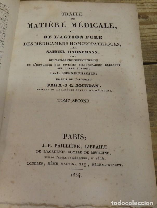 Libros antiguos: HOMEOPATIA, SAMUEL HAHNEMANN, 1834, TRAITE DE MATIERE MEDICALE OU DE LACTION PURE DES MEDICAMENTS H - Foto 2 - 162906102