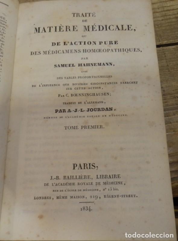 Libros antiguos: HOMEOPATIA, SAMUEL HAHNEMANN, 1834, TRAITE DE MATIERE MEDICALE OU DE LACTION PURE DES MEDICAMENTS H - Foto 4 - 162906102
