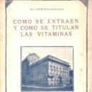 Libros antiguos: GANASSINI : CÓMO SE EXTRAEN Y COMO SE TITULAN LAS VITAMINAS (MILAN, 1930). Lote 142597274