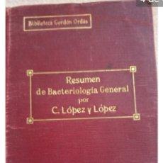 Libros antiguos: 1915 RESUMEN BACTERIOLOGÍA GENERAL.VETERINARIA. Lote 128450352