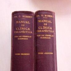 Libros antiguos: MANUAL CLINICA TERAPEUTICA - GAETANO RUMMO - ARTEAGA PEREIRA - 2 TOMOS - 1920. Lote 143032264