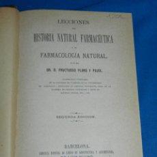Libros antiguos: MF) FRUCTUOSO PLANS Y PUJOL - LECCIONES DE HISTORIA NATURAL FARMACEUTICA LECCIONES MINERALOGIA 1870. Lote 144218098