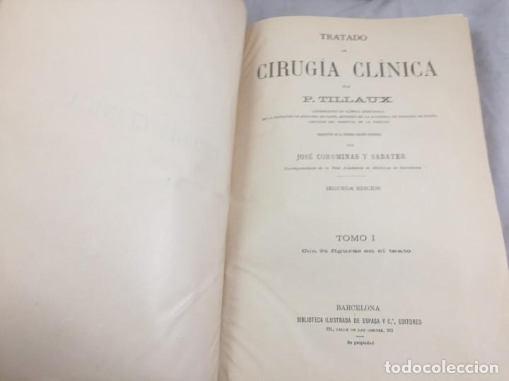 Libros antiguos: Cirugia Clínica Tratado 1895 p. Tillaux dos tomos media piel buen estado - Foto 2 - 221568770