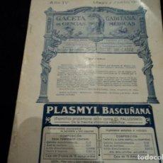 Libros antiguos: GACETA GADITANA DE CIENCIAS MEDICAS AÑO 1924 40 PAG. Lote 145303766