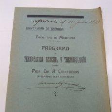Libros antiguos: PROGRAMA FACULTAD MEDICINA GRANADA AÑO 1933. Lote 145805277