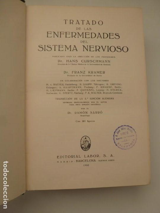 Libros antiguos: TRATADO DE LAS ENFERMEDADES DEL SISTEMA NERVIOSO. CURSCHMANN. KRAMER. EDITORIAL LABOR 1932 - Foto 3 - 146058858